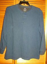 Covington Men's Long Sleeve pullon polo shirt XL 46-48 blue 3-button front GUC