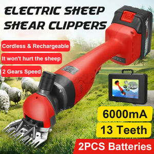 21V Cordless Electric Sheep Shearing Clipper Goat Wool Shears Set W/ Brush & Box