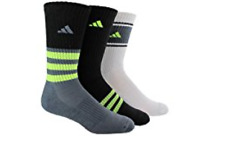 Adidas Pack Of 3 Cushioned Crew Socks Multi Color Youth Sz Large 3022