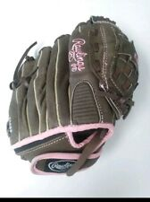 """Rawlings"" Girls Fast-pitch Softball Glove Lt Brown & Pink Leather FP110 11 Inch"
