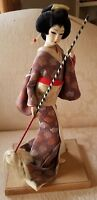 Vintage Japanese Geisha Doll 18 inch on Wood w/dancing ? ..Museum quality period