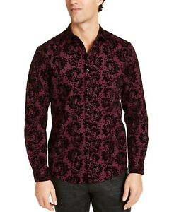 INC International Concepts INC Men's Flocked Paisley Shirt Wine Combo Sm or Med