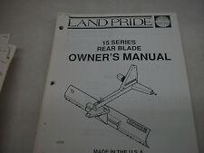 Land Pride Owners Parts Manual 15 Series Rear Blade