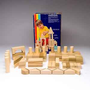 Vintage Child Guidance Hardwood Blocks Wood Set 72 Pieces Made in USA
