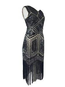 Vintage 20s Dress Beaded Flapper Tassels Fringe Black Gatsby Uk 8-10
