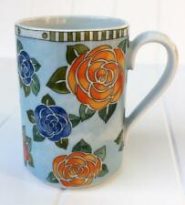 Dansk DANIKA ROSE Mug Orange Blue Red Flowers on Light Blue XLNT Cond