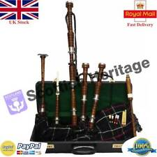 Highland Bagpipes Natural Brown Silver Finish Tutor Book Accessories Dudelsack