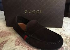 Brand New! Gucci Drivers Loafers Suede Cocoa Men's Size 10 Shoes