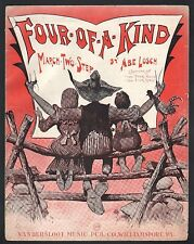 Four of A Kind 1909 Abe Losch (pseudonym of Harry J Lincoln) Lg Fmt Sheet Music
