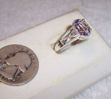 made Sterling Silver Size 10 925 Sts Amethyst Cz solitaire Ring filigree newly