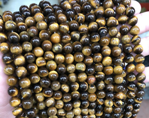 4mm - 16mm Yellow/Brown Tiger Eye Beads Plain Round 6-8-10mm Strand Of 15''