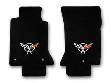 1997-2004 Chevrolet Corvette 2pc Black Carpet Floor Mats w Silver C5 Flags Logo