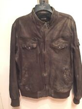 ZARA YOUNG  MENS DISTRESSED BROWN  LEATHER BOMBER JACKET XL