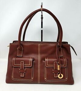 Loro Piana Burgundy Grain Leather Medium Tote Shoulder Hand Bag Authentic