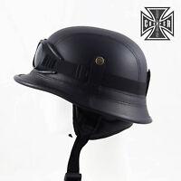 L Black WWII German Style Motorcycle Half Helmet Skull Cap Biker Chopper Novelty