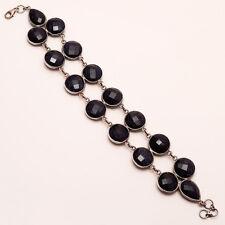 African Black Sunstone Gemstone 925 Sterling Silver Bezel Bracelet Fine Jewelry