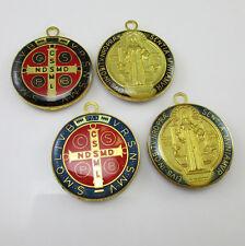 50pcs of Assorted 1 Inch Catholic Round Epoxy Saint Benedict Medal Pendants