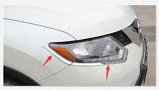 Chrome Front Head Light Eyelid Cover Trim for Nissan Rogue X-Trail 2014-2016