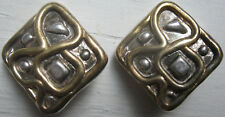 VINTAGE 925 STERLING & VERMEIL CLIP EARRINGS MODERNIST DESIGN ARTIST SIGNED!