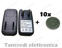 Caricabatteria lir2032 lir2025 con 10 batterie lir 2032 coin battery charger