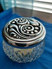 Avon Rich Moisture Cream Glass Vintage Jar Silver Lid Ornate Scroll Empty jar