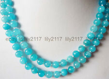 AA+ Natural 8mm South African Blue Topaz Gems Round Beads Necklace 36""