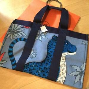 Hermes Beach Tote Bag Pouch Leopards Animal Marine Blue Shopping Cotton Auth New