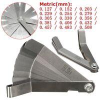 Metric 0.127-0.508mm 9mm Valve Offset Feeler Gauge 16 Blade For Valve Tappets