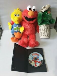Sesame Street Plush Toy Collection Bundle with The Adventures of Elmo DVD #796