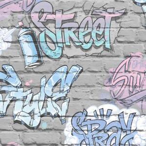 Wallpaper Muriva - Street Graffiti - Modern Urban Metallic Brick - Grey L17906