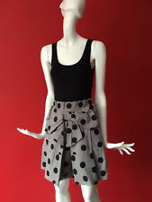 Next Runway Black Grey Boho Polka Dot Bow Front Sleeveless Pockets Dress Size 8
