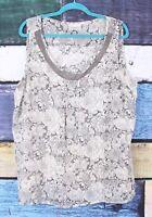 Avenue 22/24 Gray Floral Chiffon Sleeveless Blouse Top Shirt Plus 2X Career Work