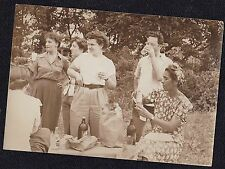 Vintage Antique Photograph Group of People Drinking At A Picnic in the Woods
