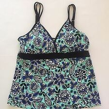 Size 14 Bathing Suit Tankini Top Swimsuit Floral Print Pool Beach Built In Bra