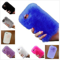 iPhone Case Soft Fluffy Fur Plush Diamond Rabbit Bling Design Perotectiv Cover