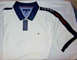 NWT Mens Tommy Hilfiger S/S Polo Shirt~WHITE / NAVY~SZ XXL