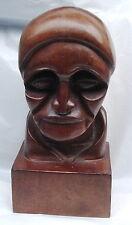 Vintage Woodenware Mahogany Wood Carved Bust Figurine/Sculpture HENNING 1996
