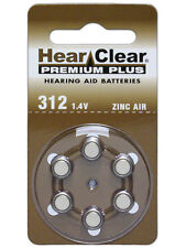 (Pack of 12) HearClear Size 312 PR41 Zinc-Air Hearing Aid Batteries, NEW