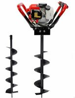 """2.3HP 55cc Gas Post Earth ice dirt Hole auger Digger Borer w/ Auger bits 4"""" + 8"""""""