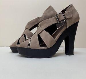 Sz 6/39 - Next - Ladies Taupe Black Wooden Effect Platform Faux Suede Sandals