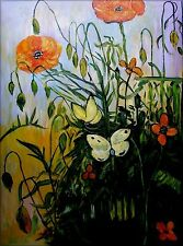 Van Gogh Poppies and Butterflies Repro, Hand Painted Oil Painting 30x40in