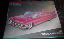 MONOGRAM 1959 CADILLAC PINK CONVERTIBLE 1/25 MODEL CAR MOUNTAIN KIT OPEN