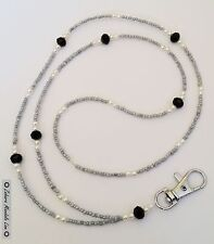 Pearls & Gray ID Badge Holder Name Tag HANDMADE, Beaded Lanyard Fashion Necklace