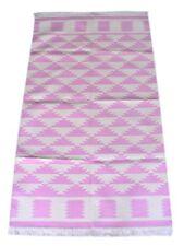 Handmade Ikat Cotton Kilim Rug Modern Pink Color 3x5 Feet Area Rug