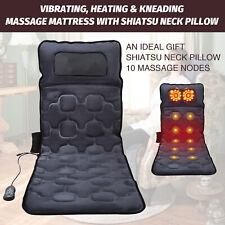 Full Body Massage Mattress Mat w Heat & Shiatsu Neck Massager 10 Nodes 9 Speeds