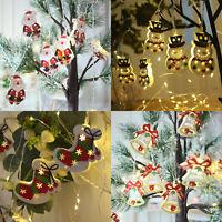 Christmas Fairy String Lights Xmas Tree Hanging LED Santa Snowman Bells Ornament