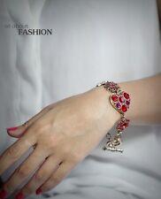 Bracelet Doré  Art Deco Cristal Rouge Coeur Etoile Class Vintage Original CT2