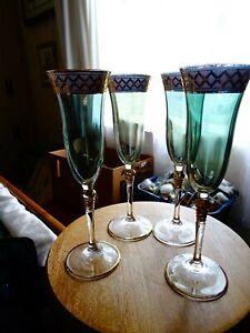 Set of 4 vintage blue hued glass and gold champagne glasses 175 ml