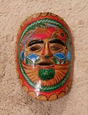 Hand-painted Mexican Folk Art Terra Cotta Clay Pottery Mask
