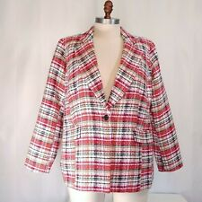 Eloquii Red Pink Black Tweed Woven Classic Blazer Jacket Plus Size 18 NWT